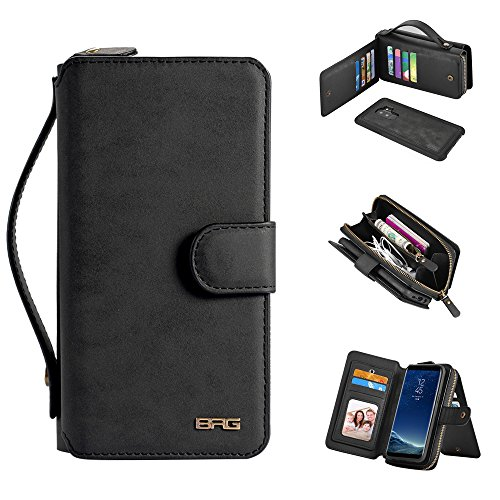 Galaxy S9 Plus Case  [Magnetic Detachable] Wallet PU Leather Protective Flip Folio Removable Cover Z