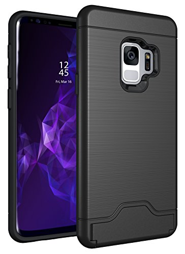 Galaxy S9 Plus Case  Brushed Metal Finish  Dual Layer Protection with Card Holder and Kickstand  Rai
